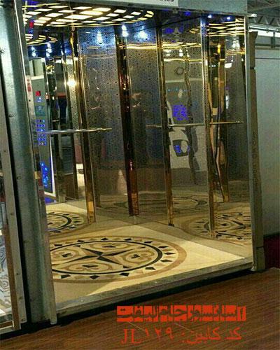 کابین تمام استیل آسانسور طلایی مدل 129