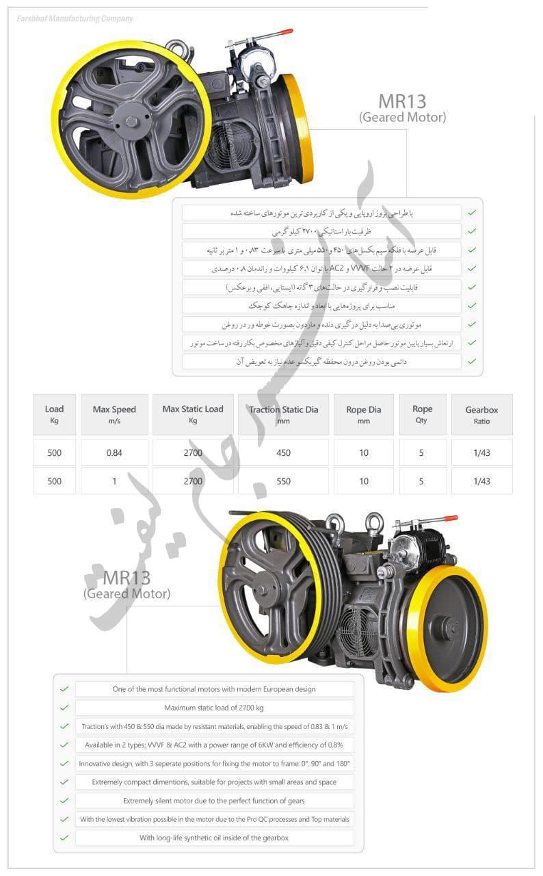 مشخصات موتور mr13