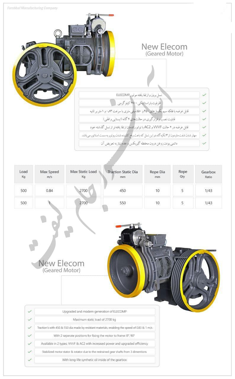 مشخصات و قیمت موتور فرشباف